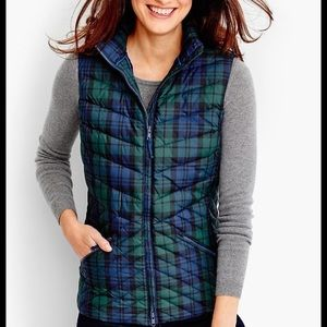 Talbots Chevron-Quilted Plaid Puffer Vest